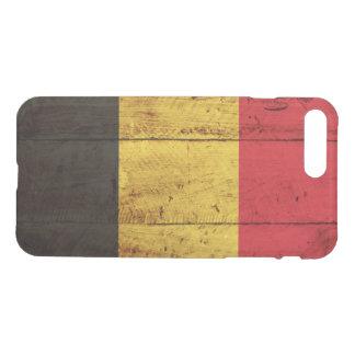 Coque iPhone 8 Plus/7 Plus Drapeau de la Belgique sur le vieux grain en bois