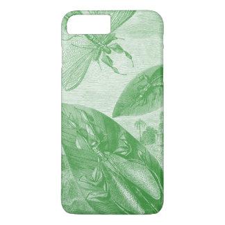 Coque iPhone 8 Plus/7 Plus Feuille de vol vintage de sauterelle de vert