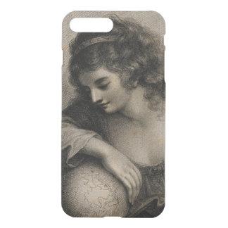 Coque iPhone 8 Plus/7 Plus Globe vintage de femme de portrait femelle