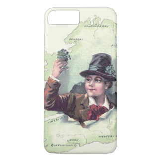 Coque iPhone 8 Plus/7 Plus Île de l'Irlande de shamrock de lutin