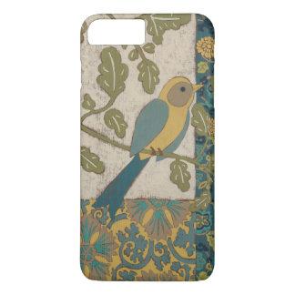 Coque iPhone 8 Plus/7 Plus Jaune et oiseau bleu turquoise étés perché sur une