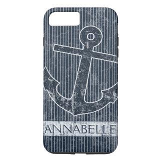 Coque iPhone 8 Plus/7 Plus L'ancre de bleu marine barre le modèle nommé