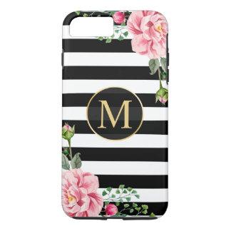 Coque iPhone 8 Plus/7 Plus Le blanc romantique Girly de noir de fleur barre