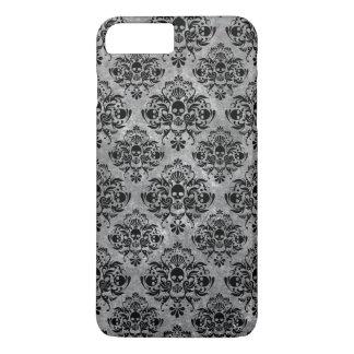 Coque iPhone 8 Plus/7 Plus Mini gris fascinant de noir de motif de damassé de