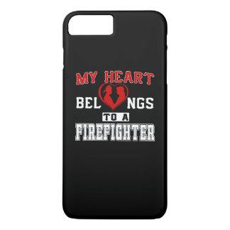 Coque iPhone 8 Plus/7 Plus Mon coeur appartient à un sapeur-pompier