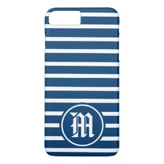 Coque iPhone 8 Plus/7 Plus Monogramme bleu de rayure de H