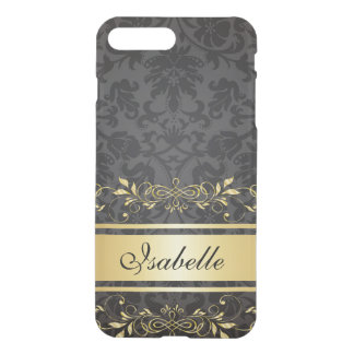 Coque iPhone 8 Plus/7 Plus Monogramme d'or de coutume de ruban de damassé