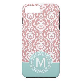 Coque iPhone 8 Plus/7 Plus Monogramme rose bleu de damassé