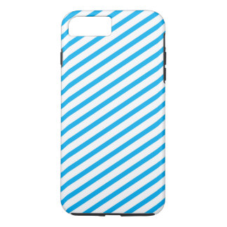 Coque iPhone 8 Plus/7 Plus Motif bleu de rayure diagonale