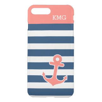 Coque iPhone 8 Plus/7 Plus Motif de corail de bandes de marine de monogramme