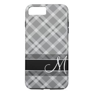 Coque iPhone 8 Plus/7 Plus Motif de plaid avec le monogramme - gris blanc