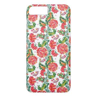 Coque iPhone 8 Plus/7 Plus Motif floral de fleur florale rouge audacieuse de