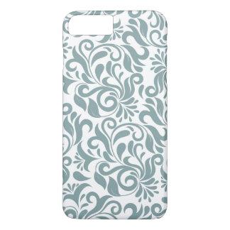 Coque iPhone 8 Plus/7 Plus Motif floral vert grisâtre de damassé