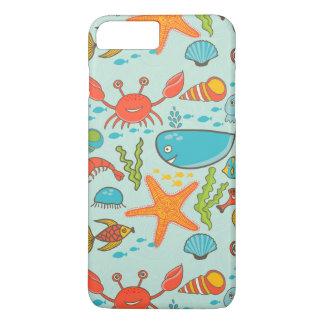 Coque iPhone 8 Plus/7 Plus Motif marin de poissons heureux