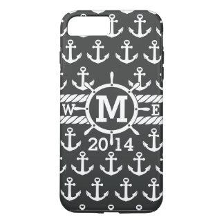 Coque iPhone 8 Plus/7 Plus Motif nautique blanc noir personnalisé d'ancres