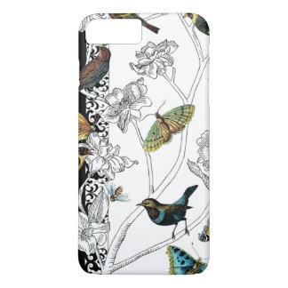 Coque iPhone 8 Plus/7 Plus Oiseaux et papillon sur un arrière - plan noir et