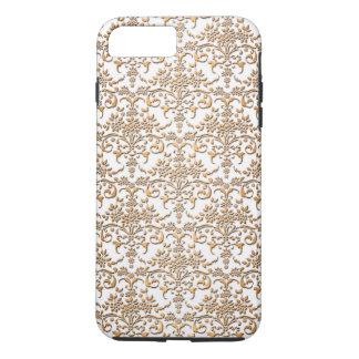 Coque iPhone 8 Plus/7 Plus Or de fantaisie et damassé blanche PatternFloral