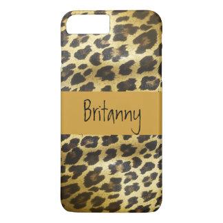 Coque iPhone 8 Plus/7 Plus Poster de animal d'or de fourrure de léopard avec