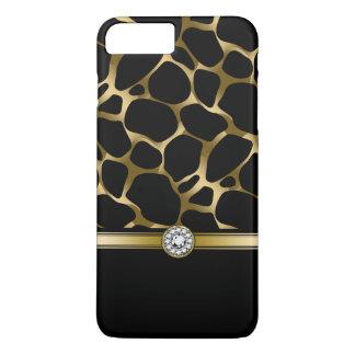 Coque iPhone 8 Plus/7 Plus Poster de animal élégant de léopard de noir et