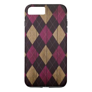 Coque iPhone 8 Plus/7 Plus Pourpre à motifs de losanges en bois de prune de