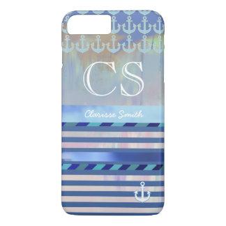 Coque iPhone 8 Plus/7 Plus rayures bleues, nom/initiales et ancres