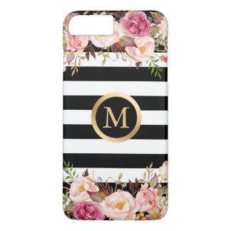 Coque iPhone 8 Plus/7 Plus Rayures florales Girly de blanc de noir de