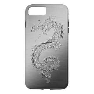 Coque iPhone 8 Plus/7 Plus Regard balayé par dragon vintage en métal