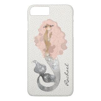 Coque iPhone 8 Plus/7 Plus Sirène avec les cheveux roses et votre monogramme