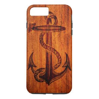 Coque iPhone 8 Plus/7 Plus Texture en bois (ancre)