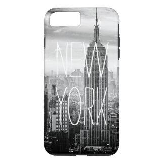 Coque iPhone 8 Plus/7 Plus Typographie noire et blanche d'horizon de New York