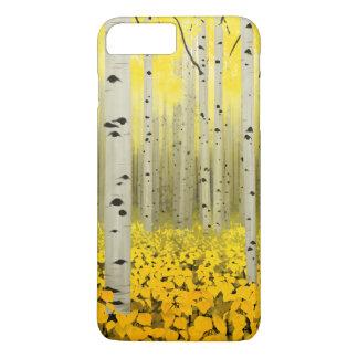 Coque iPhone 8 Plus/7 Plus Verger d'Aspen dans le cas de téléphone de jaune