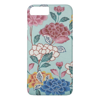 Coque iphone asiatique de bleu d'art de motif