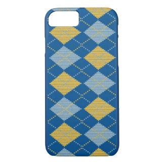 Coque iphone bleu à motifs de losanges