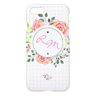 Coque iphone brillant floral de monogramme