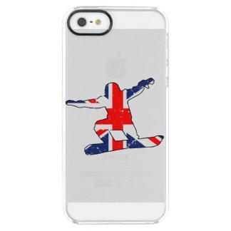 Coque iPhone Clear SE/5/5s SURFEUR d'Union Jack (noir)