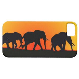 Coque iphone de coucher du soleil d'éléphant
