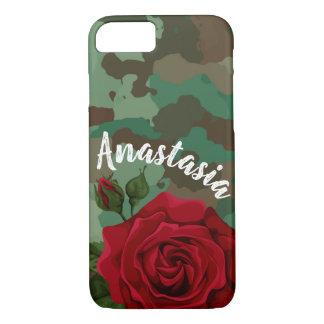 Coque iphone de coutume de rose rouge de Camo