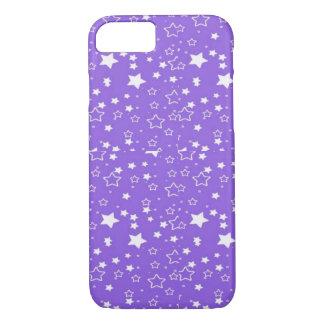 coque iphone d'étoiles de pourpre et de blanc