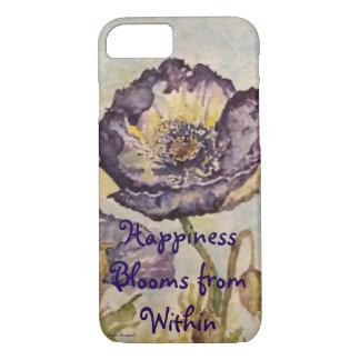 Coque iphone floral d'art d'aquarelle de bonheur