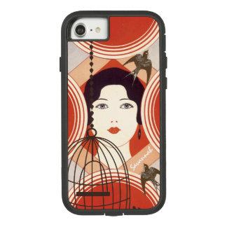 Coque iphone Girly vintage d'inséparable de cage à