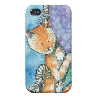 Coque iphone mignon de chats tigrés de sommeil