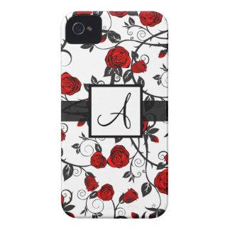 Coque iphone mignon du monogramme A de rose rouge Coques iPhone 4 Case-Mate