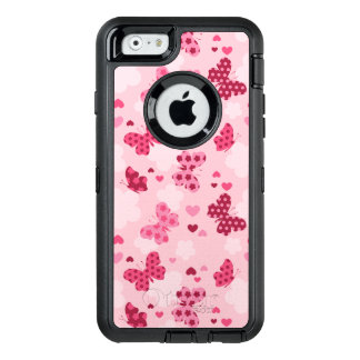 Coque iphone rose d'Otterbox de motif de papillon