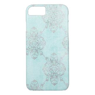 Coque iphone turquoise vintage de damassé