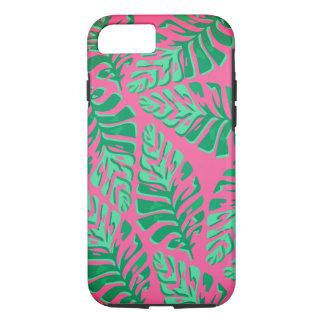 Coque iphone vert et rose coloré de feuille