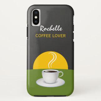 Coque iPhone X Amants gris verts de café de matin de café de
