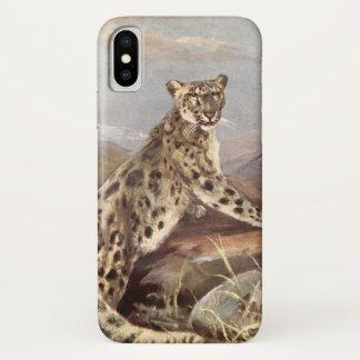 Coque iPhone X Animaux sauvages vintages, léopard de neige par le
