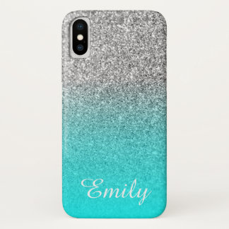 Coque iPhone X Aqua argenté Ombre de parties scintillantes