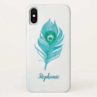 Coque iPhone X Aquarelle de plume de paon