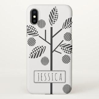 Coque iPhone X Arbre géométrique et cadre noirs et blancs avec le